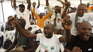 Mr Ouattara's supporters at the Golf Hotel in Abidjan