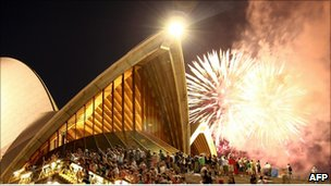 "Fireworks explode above the Sydney Opera House during the preliminary 9pm session as Sydney celebrates New Year""s Eve on December 31, 2010 in Sydney, Australia."