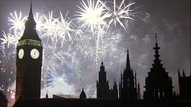Fireworks lit up the London skyline to welcome in 2011