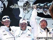 Ellison (right) celebrates victory in the 33rd America's Cup