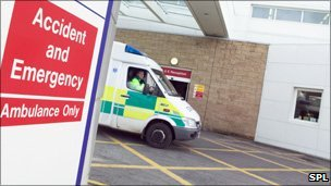 Ambulance at hospital (generic image)
