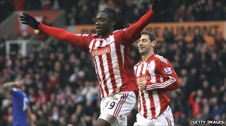 Kenwyne Jones celebrates opening the scoring for Stoke