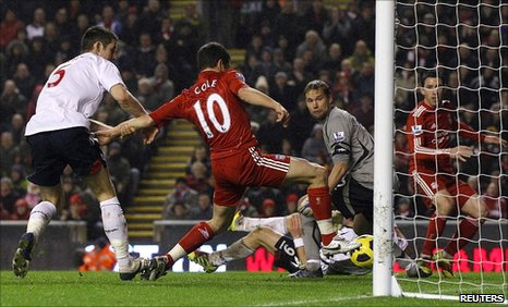 Joe Cole scores the winner for Liverpool against Bolton