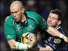 Johnny O'Connor of Connacht is tackled by Leinster's Fergus McFadden