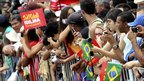People await the arrival of Dilma Rousseff outside Congress in Brasilia January 1, 2011.
