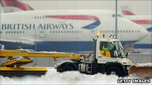 Heathrow airport in the snow
