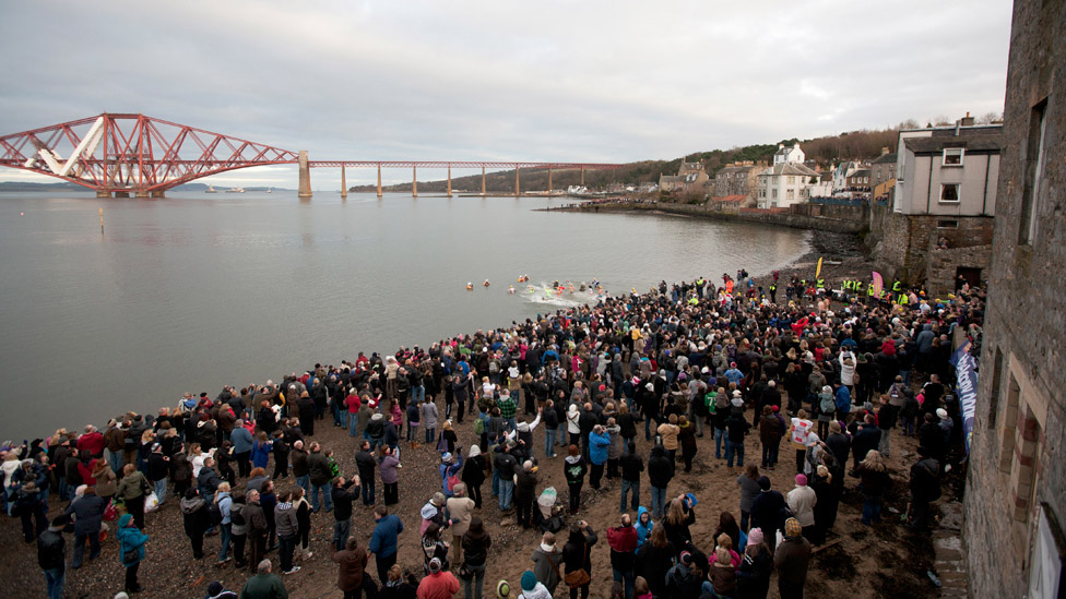 The Loony Dook began with a handful of swimmers braving the waters of the