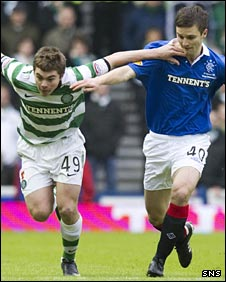 James Forrest holds off Rangers' Jamie Ness