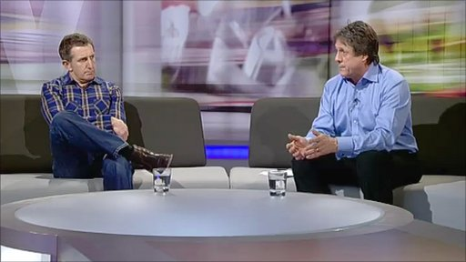 Jonathan Davies and Brynmor Williams on the Scrum V sofa