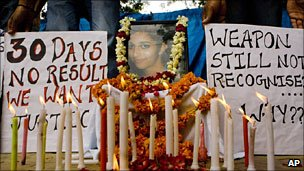 File picture of protest demanding justice for murdered Delhi schoolgirl Aarushi Talwar