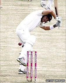 Shane Watson leaves a ball which flies over his stumps
