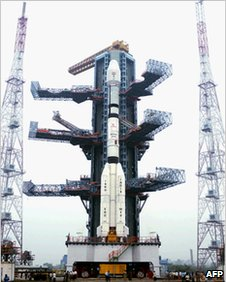 The Indian Space Research Organisation rocket before launch on 25 December 2010