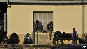 Illegal migrants at a train station in Vissa. northern Greece (31 Oct 2010)