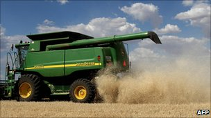 Wheat harvester in Australia
