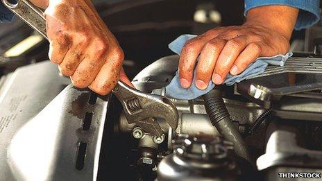 Person mending a car