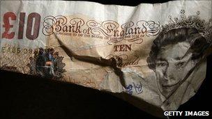 Crumpled £10 note