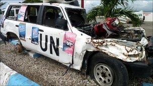Wrecked UN car in Haiti