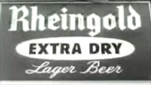 An old advert, in black and white, for Rheingold Extra Dry Beer