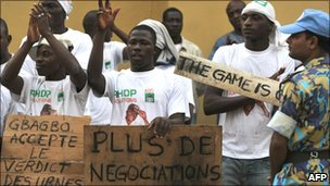 Ouattara supporters in Abidjan, 3 Jan