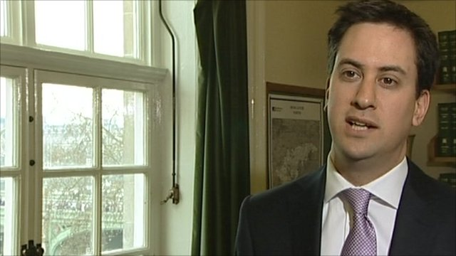 Ed Miliband being interviewed about VAT increase