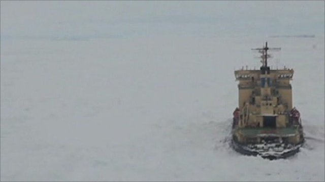 Ship trapped in the Sea of Okhotsk