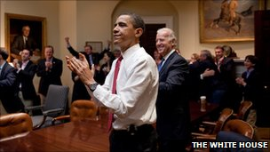 Obama applauds passage of the healthcare reform bill