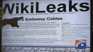Wikileaks memos on TV screen at electronics shop in Karachi, Pakistan