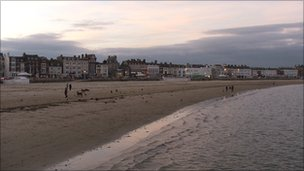 Weymouth beach at dusk