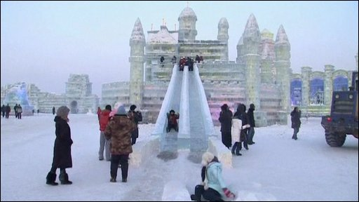 Slide at the annual Ice and Snow Festival in Harbin, China
