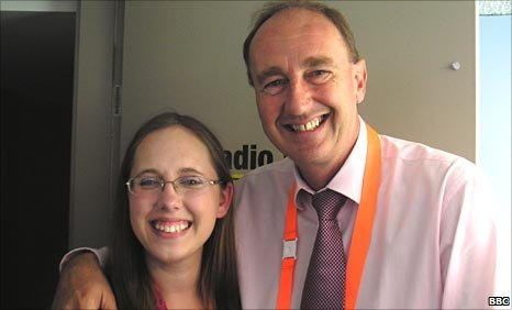 Ashley Kerekes (left) with Jonathan Agnew (right)