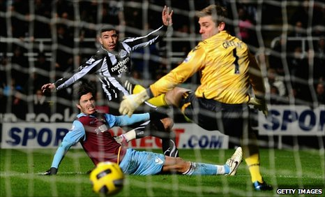 Newcastle's Leon Best opens the scoring against West Ham