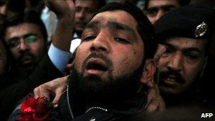 Arrested Pakistani bodyguard Malik Mumtaz Hussain Qadri