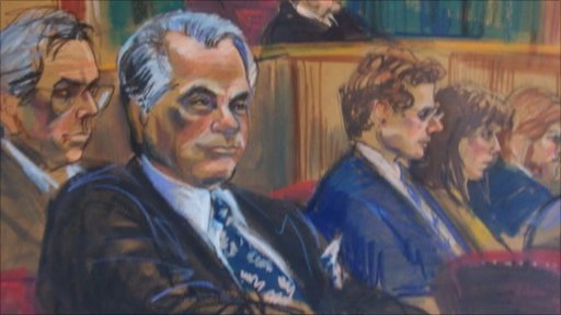 A courtroom sketch of the trial of New York mafia boss John Gotti by artist Marylyn Church