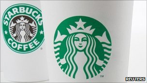 The new Starbucks logo on the right, and the old one on the left