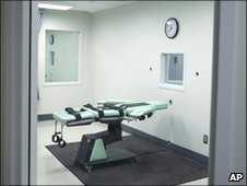 The death chamber of the new lethal injection facility at San Quentin State Prison