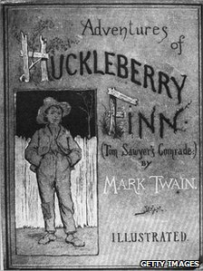 File picture of the cover of the first edition of &#039;Adventures of Huckleberry Finn&#039;, published in 1884