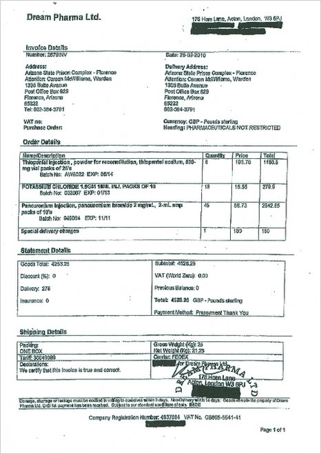 Dream Pharma invoice