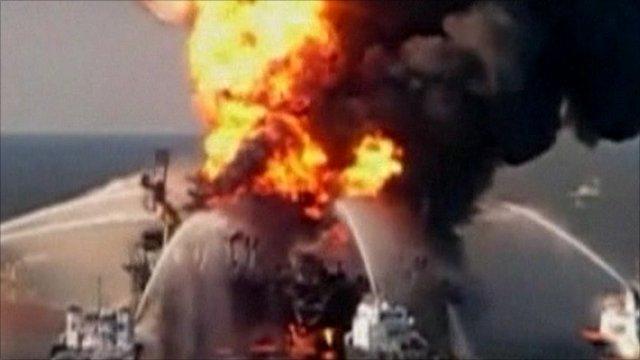 Blast aboard the Deepwater Horizon rig last April