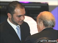 Prince Ali is congratularted by Sepp Blatter