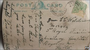 Postcard sent to Pte Wolstencroft 