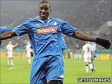 Senegal striker Demba Ba scoring for Hoffenheim in December