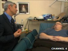 Still of Shaw Somers and Paul Mason taken from Channel 4's Britain's Fattest Man