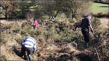 Volunteers clearing sites in Dartmoor