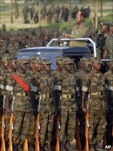 Uganda President Yoweri Museveni inspects Uganda soldiers being sent to the African Union mission in Somalia.