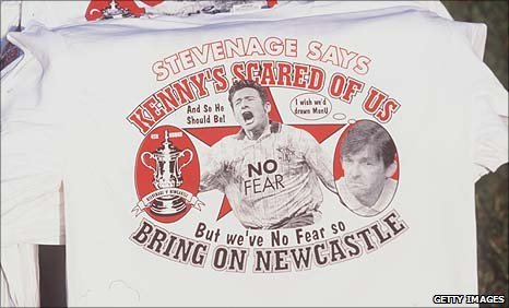 Stevenage supporters t-shirts ahaed of the FA Cup replay of 1998