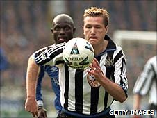 Steve Howey playing for Newcastle