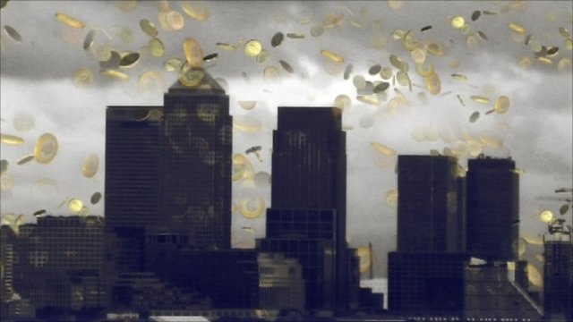 Graphic of London skyline with gold coins