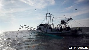 Shrimp boat in Barataria Bay, Louisiana, 6 Dec 2010