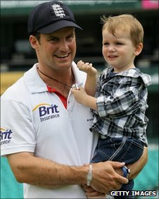 England captain Andrew Strass and son Luca