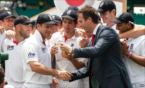 England receive the Ashes urn from Michael Vaughan
